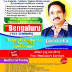 Squadron Leader Jayasimha's Memory, Speed Reading and Easy Maths Workshop in Bangalore