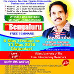 Memory and Speed Reading Workshop by Squadron Leader Jayasimha in Bengaluru from 15th to 19th May 2016